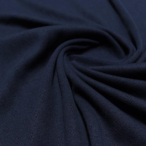 Feinstrickjersey mit Lochmuster in dunkelblau