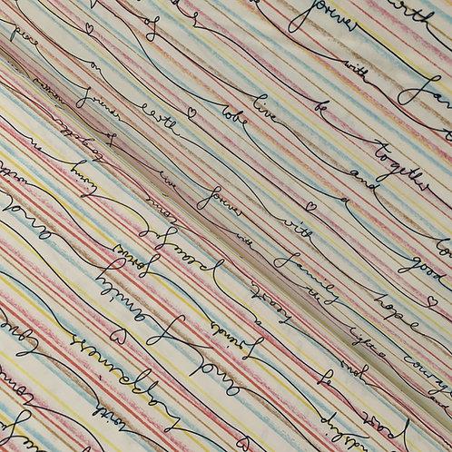Bio-Baumwollstoff pastellfarben mit Linien und Schriftzügen