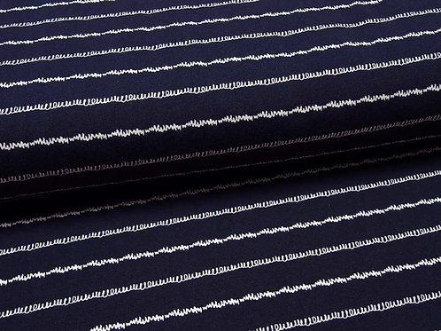 Jersey dunkelblau wellige Linien