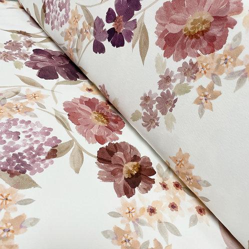 Jersey-Stoff mit Vintage Blumen, auf der Rolle