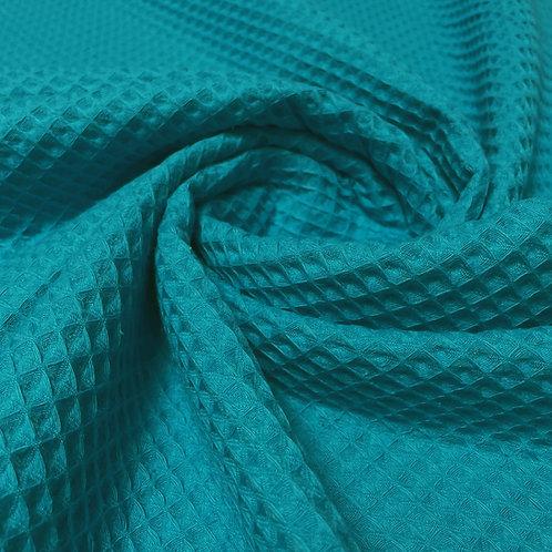Waffelstoff in blau-türkis
