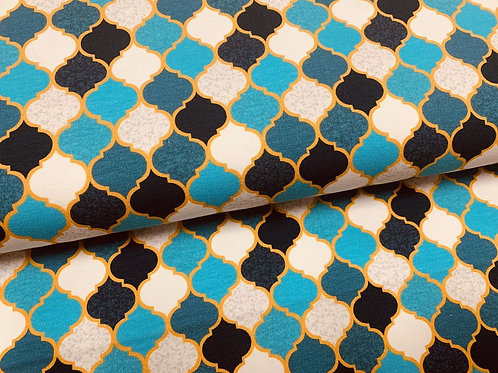 petrol creme dunkelblau gemusterter Jersey-Stoff in Marokko Fliesenoptik