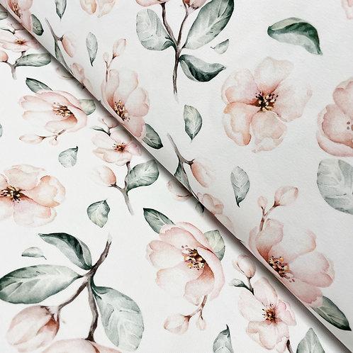 Jersey mit Blüten in Pastelltönen, auf der Rolle