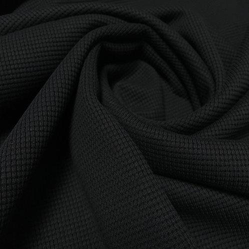 Waffeljersey in schwarz