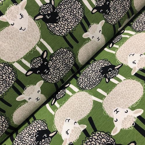 Grüner Bio-Jerseystoff mit entzückenden Schafen, auf der Rolle