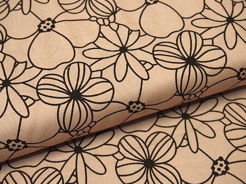 Baumwolle-Stoff in altrosa mit schwarzem Blumenmuster aufgedruckt