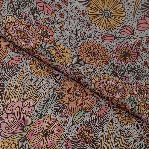 Bio-Baumwollstoff mit Mandala-Blumenmuster