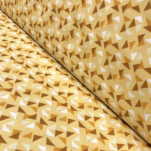 Gelber Baumwollstoff mit Dreiecken, auf der Rolle