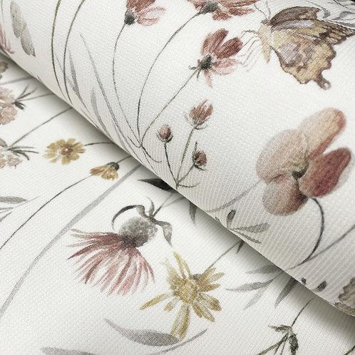 Ripp-Jersey mit Blumenmeer und Schmetterlingen, auf der Rolle