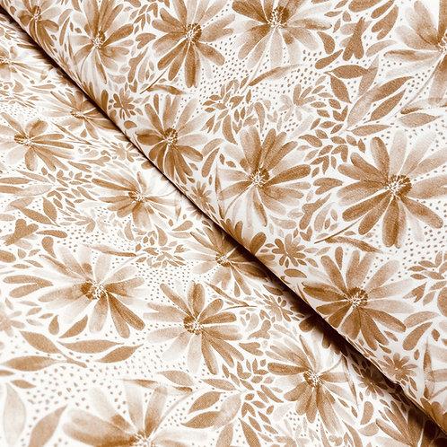 Jersey mit Echinacea-Blüten in mandelbraun, auf der Rolle