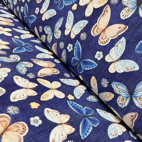 Jeans-Jersey in marine mit Schmetterlingen, auf der Rolle