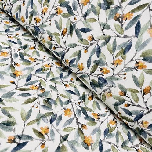 Jersey mit Blättern und Blüten, auf der Rolle