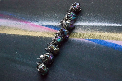 Iridescent Gemstone Silver Plated Earrings