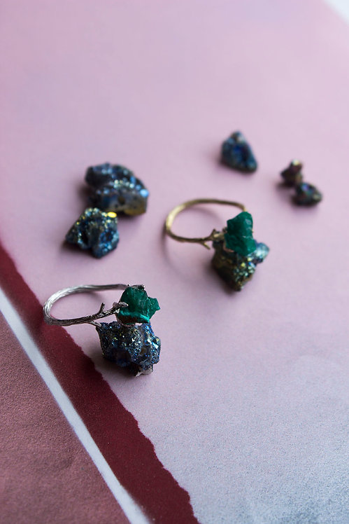 Dioptase Silver Plated Ring
