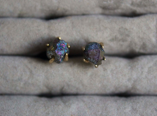 Iridescent Gemstone Gold Plated Earrings