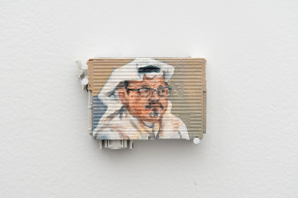 Khashoggi, 2018, Oil on empty Epson ink cartridge, 2 x 3 inches