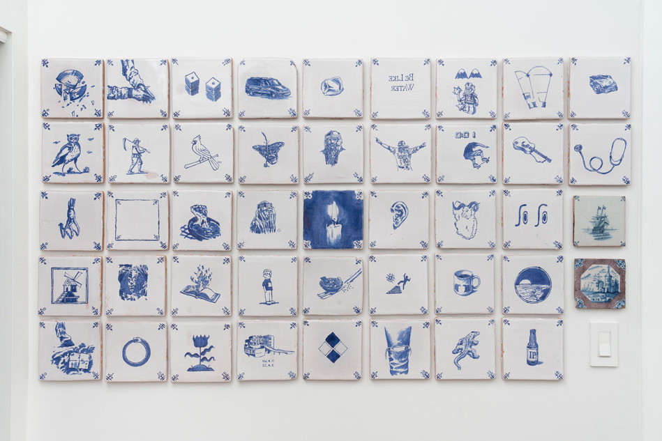 The Tiles, 2018, 42 Majolica tiles and two 18th century Delft tiles, 33 x 80 inches; 6 x 6 inches each