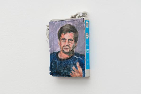 Novichok, 2018, Oil on empty Epson ink cartridge, 3 x 2 inches