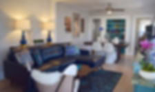 Eclectic Living Room Blue Leathe Sofa White Butterfly Chair Panton S Chairs