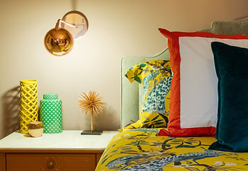 Dwell Studio Peacock Duvet Bedroom with Rose Gold Lighting