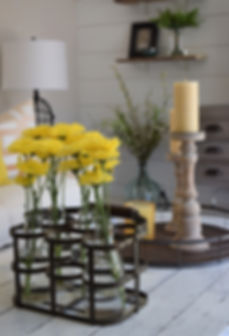 Chip and Joanna Farmhouse Table with Yellow Magnolias