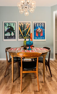 Mid Century MCM Dining Table and Chairs with Comic Book Posters in Art Frames