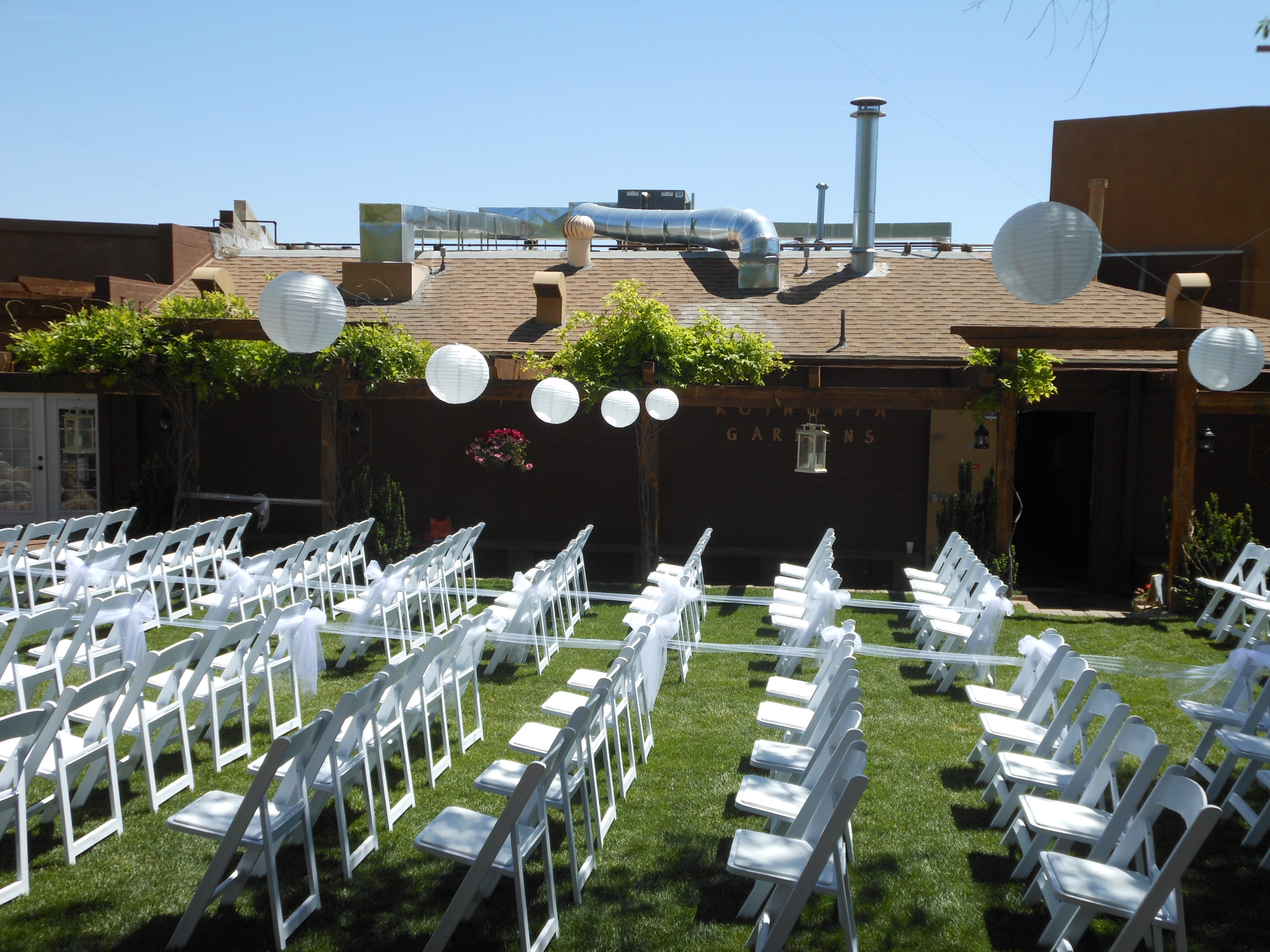 chairs set up from side view facing church