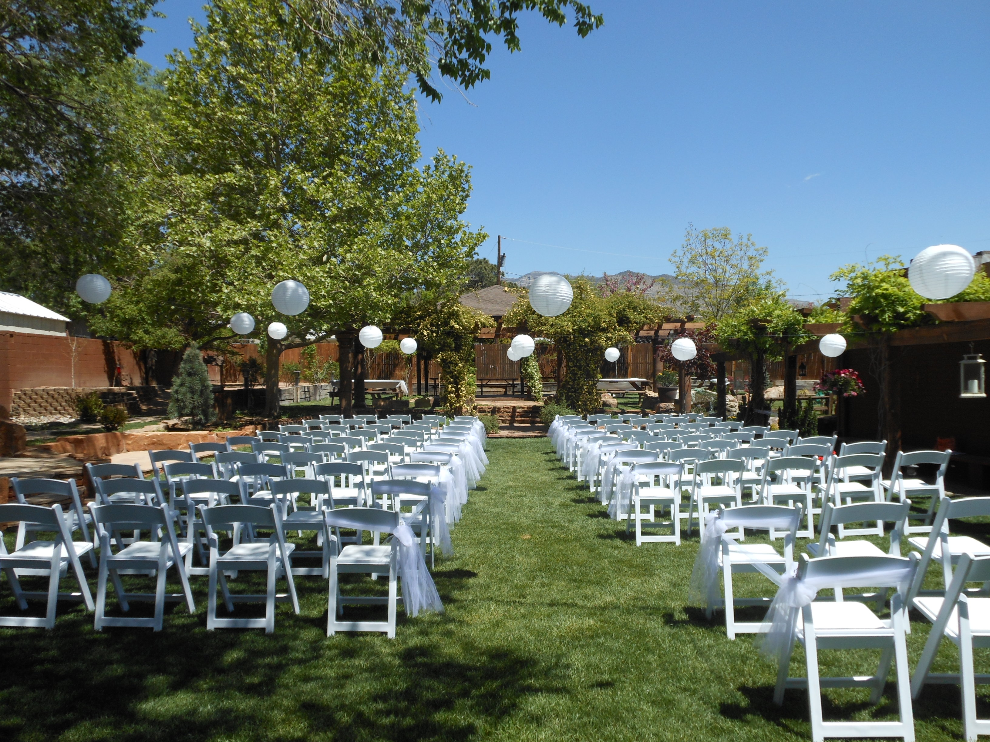 chairs set up facing East