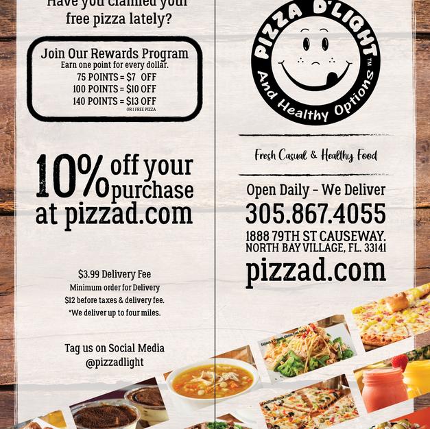 Pizza D'Light & Healthy Options Menu Cov
