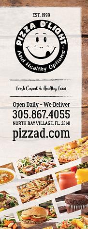 Pizza D'Light & Healthy Options Menu