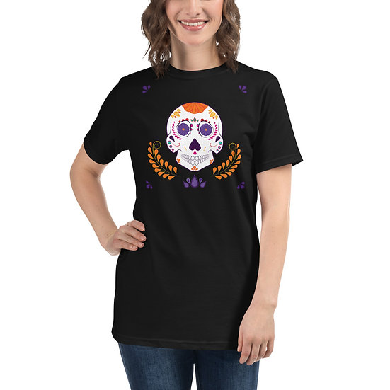 Sugar Skull Orange Crest Organic Tee Unisex