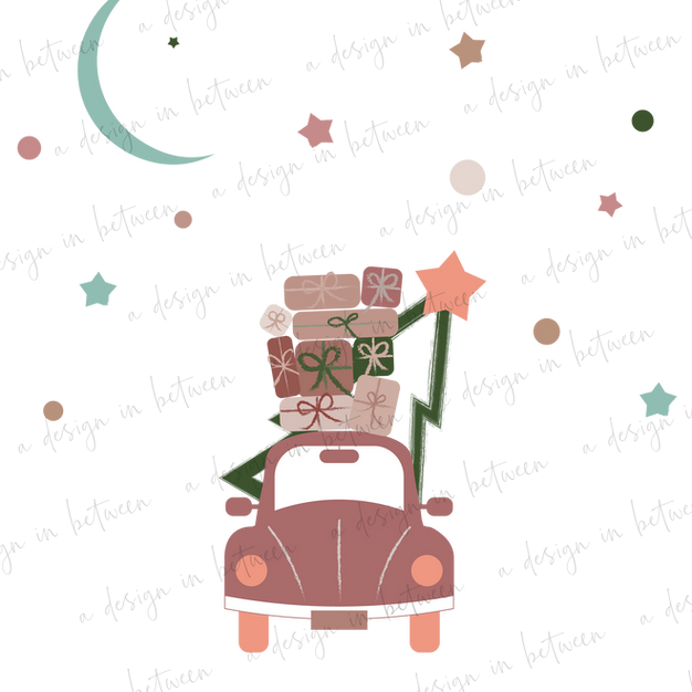 Christmas Roadtripping Dusty Rose Illustration