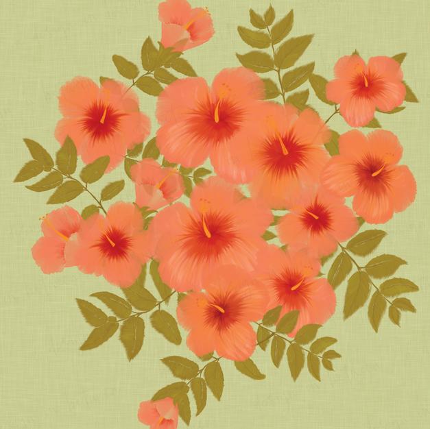 Hibiscus Green Print