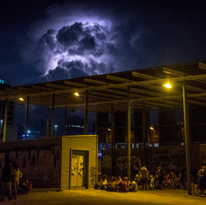 Lighting in the clouds near Sants train station in Barcelona.
