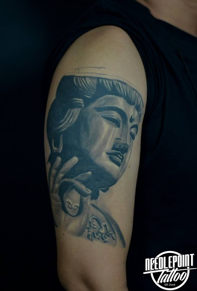 Buddha black and grey tattoo
