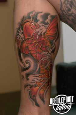 neo traditional koi tattoo