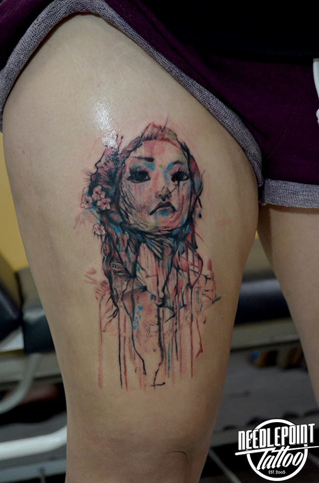 Girl watercolor tattoo