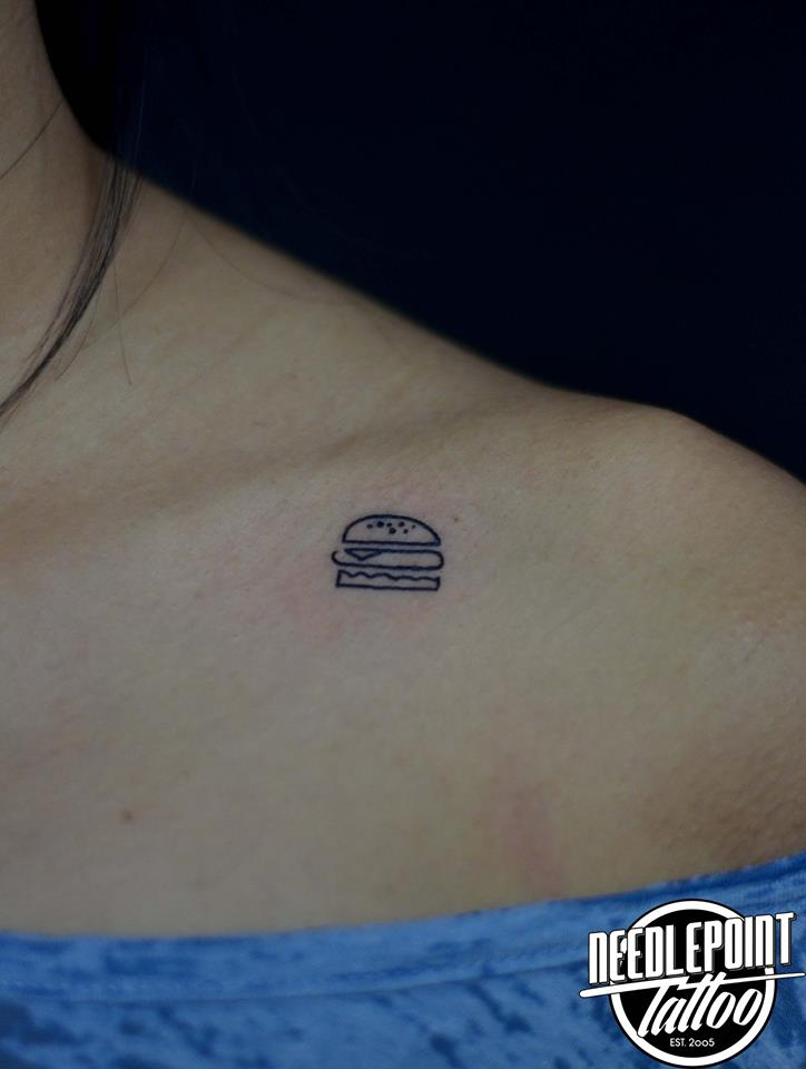Minimalist burger tattoo