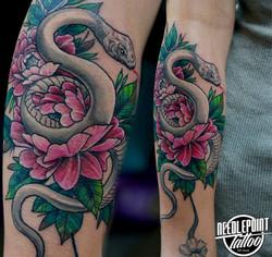 White snake and peony tattoo