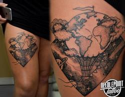 Custom Space Pointillism tattoo