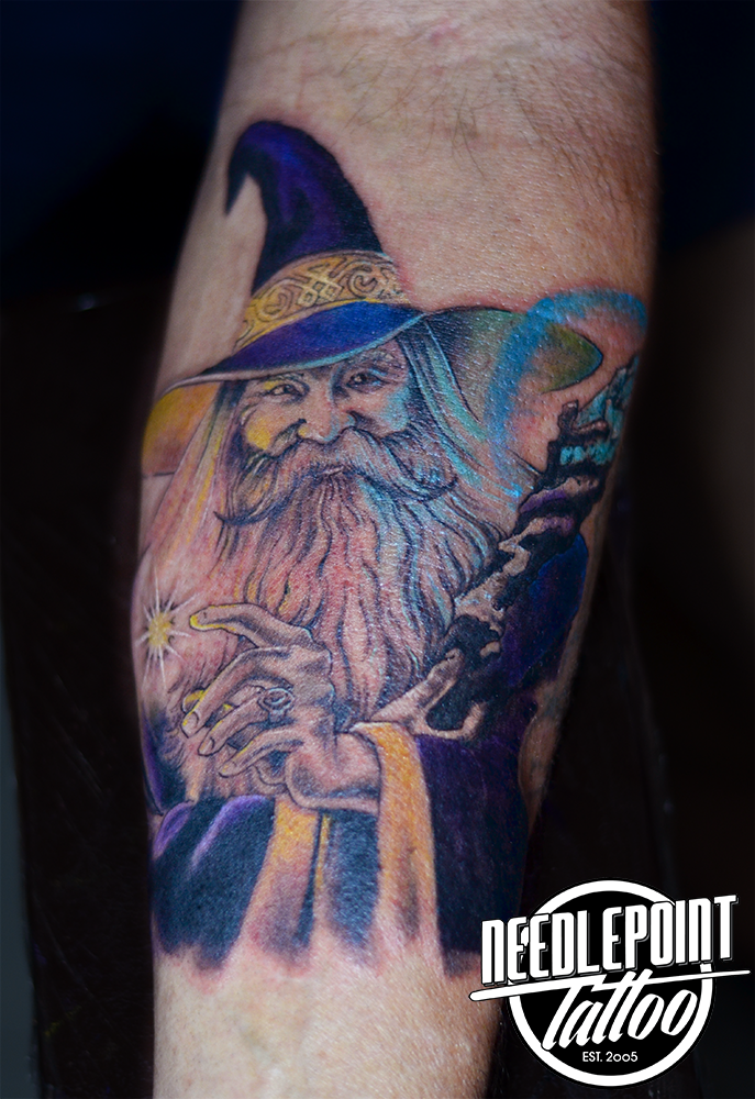 Merlin the Wizard on the forearm