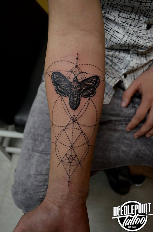 Death moth with geometric shapes tat