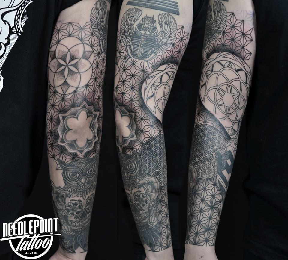 Geometric sleeve tattoo