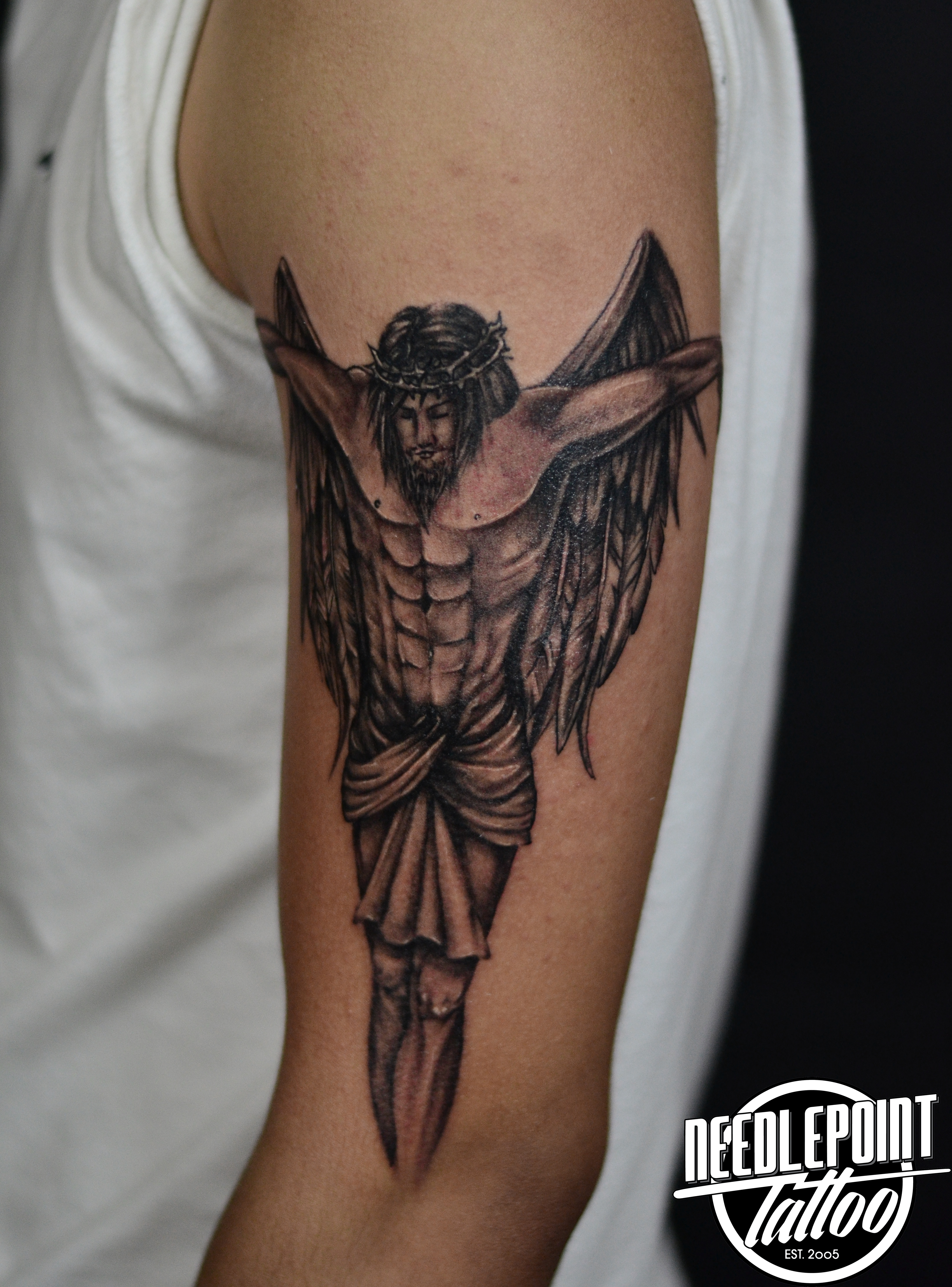 Black and gray Crucifix Tattoo