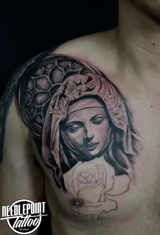 Black and gray Mother Mary Tattoo