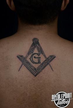 Black and gray freemasons tattoo