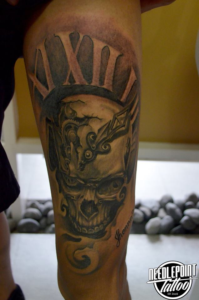 Custom Skull black and grey tattoo