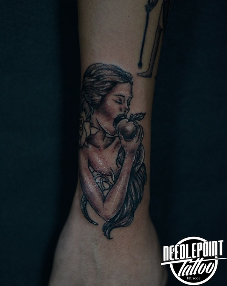 Black and gray Eve tattoo