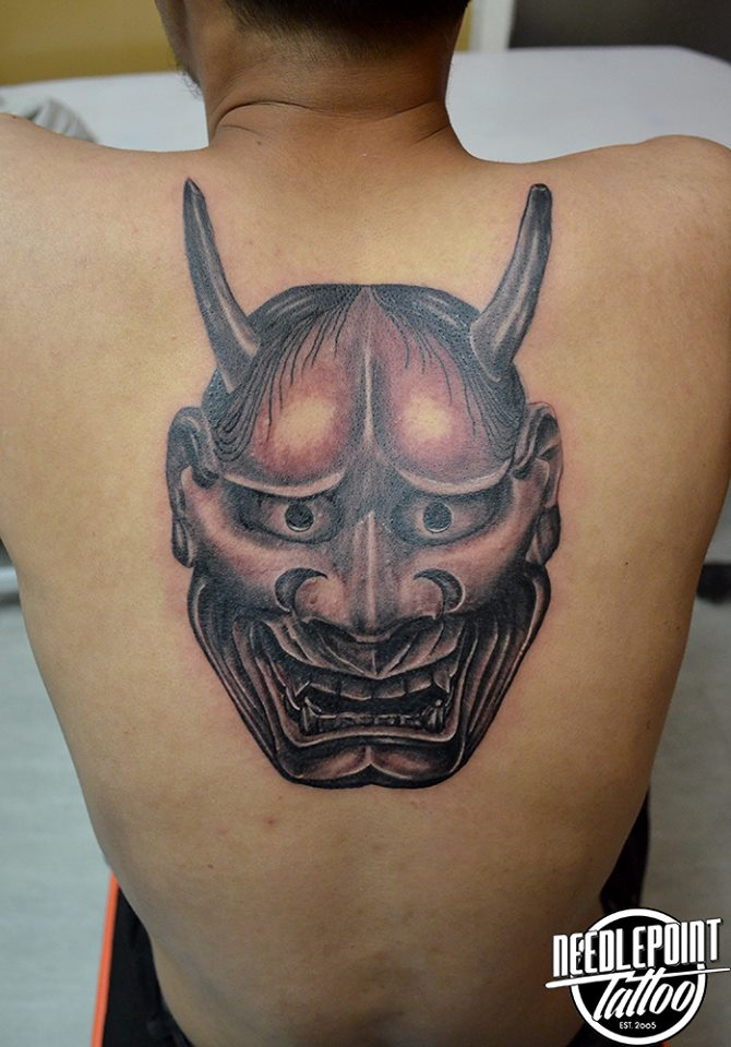 Realistic Hannya mask Tattoo