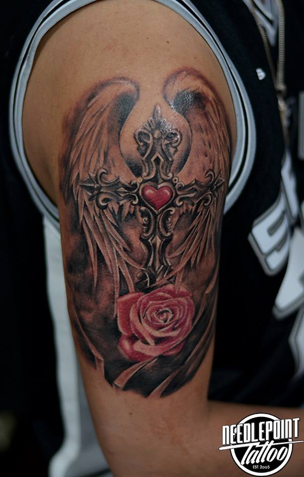 Black and gray Cross tattoo